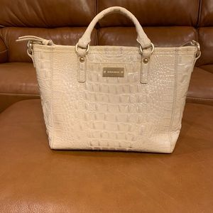 Brahmin Cream Patent Crock Print shoulder bag